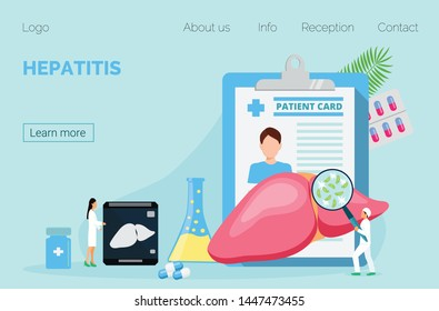 Concept of hepatitis A, B, C, D, cirrhosis. Tiny doctors treat the liver. Blue background vector for website and mobile website development, apps is presented.