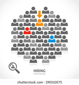 Concept of hiring new vacancy. It's very hard to find a chosen one good worker.