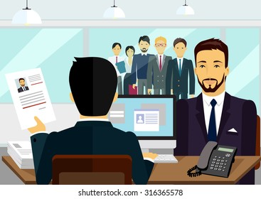 Concept of hiring recruiting interview. Look resume the applicant employer. Candidate and recruitment, hire and interviewer, decision and examination illustration