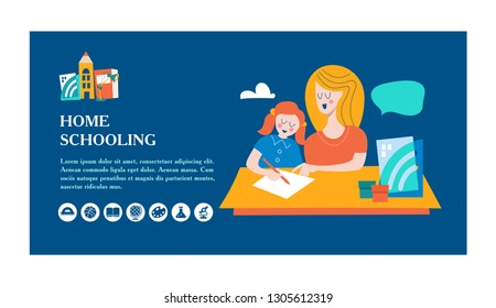 The concept of homeschooling. The emblem of home education for large families and families with children with disabilities. Vector illustration.
