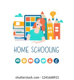 The concept of homeschooling. Home office. Girl studying with a tablet at home online. Emblem of education. Vector illustration