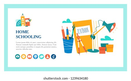 The concept of homeschooling. Home office. Textbooks, books, pencils and a Desk lamp on the table. Emblem of education. Vector illustration. Landing page template.