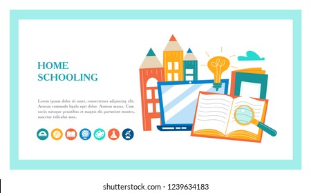 The concept of homeschooling. Home office. Textbooks, books, pencils, laptop on the table. Emblem of education. Vector illustration. Landing page template.