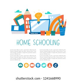 The concept of homeschooling. Home office. Textbooks, books, pencils, laptop on the table. Emblem of education. Vector illustration.