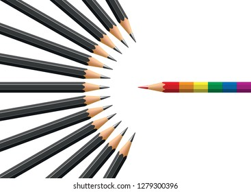 Concept of homophobia with for symbol a pencil in the colors of homosexuals opposite black pencils in opposition.