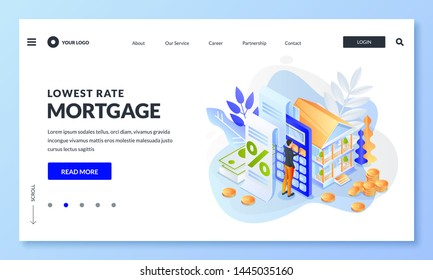 Concept of house loan or money investment to real estate. Man calculates home mortgage rate. Vector 3d isometric illustration for web landing page, banner or poster design.