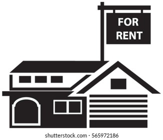 Concept of house for rent in real estate market in black vector isolated in white background. Illustration of black rent sign for real estate.