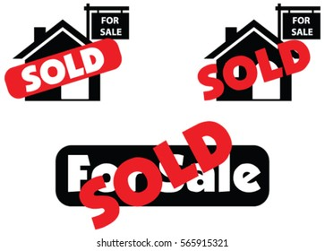 Concept of house for sale and sold in real estate market in vector isolated in white background. Illustration of house sale and sold sign for real estate.