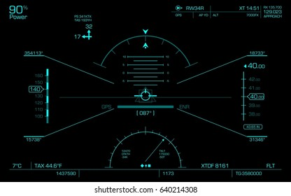 Concept of the HUD. Air navigation panel