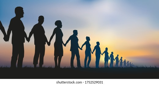 Concept of the human chain and solidarity with a group of aligned people who join hands to show that unity is strength.