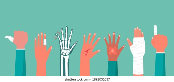 Concept of the human hand trauma injury with X-ray of broken bone, cutting wound red blood on palm, the bandage on finger, arm pain, flat vector illustration