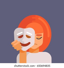 Concept of hypocrisy. The girl is holding a mask and covers her real emotions behind this mask. She is a sad, but mask is a happy and laughing. Flat style vector illustration. Double game.