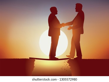 Concept of hypocrisy with the meeting between two businessmen, one credulous, faces his competitor who will make him fall into a precipice without any qualms.