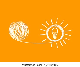 concept icon showing untangling a tangled line into  creative idea. a metaphor for a mentor or coach in a troubled business