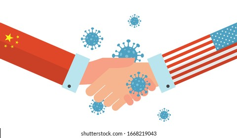 Concept of Icon of Stopping Corona Virus. china and USA shaking hands and finding a solution to STOP caronavirus. Corona Virus . 2019-nCoV. Corona Virus in Wuhan, China, Global Spread crysis
