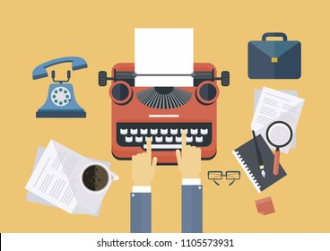 Concept idea equipments and typewriter for workspace of writer or journalist, flat line vector illustration.