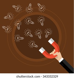 Concept of idea. Horseshoe magnet collecting hand drawn light bulb. Flat design, vector illustration