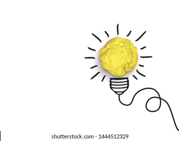 Concept of idea and innovation with paper ball, isolatend on white background, in vector format