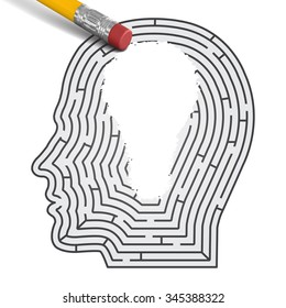 Concept of idea. Labirint in form of man head with pencil wipe off region in form of light bulb.
