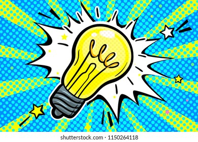 Concept of Idea. Light bulb in pop art style on blue background. Vector illustration.
