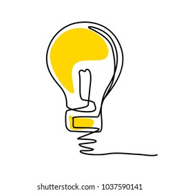 Concept of idea with lightbulb, Contour drawing and sketch, Vector illustration and simple design.