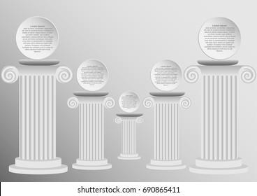 Concept and idea white Roman pillar infographic. Roman pillar vector background. vector EPS10