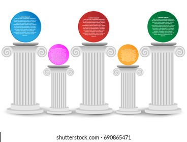 Concept and idea white Roman pillar infographic. Roman pillar vector background. Circle color infographic template for create presentation and report. vector EPS10