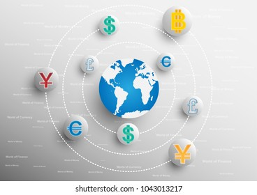 Concept and idea world of currency and finance. Vector EPS10