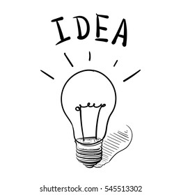 Concept ideas while working. hand drawn Light bulb vector illustration on white background. Vector light bulb.