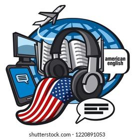 concept illustration of american english language courses