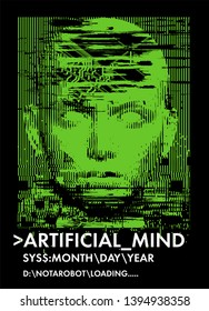 Concept illustration of artificial intelligence, high-tech cybernetic future robot, human machine. Distorted 3d mask of human face. Cover for AI Hackathon, Deep Learning Computer Vision Algorithm.
