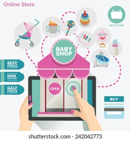 concept illustration banner template for baby shop and on line shop