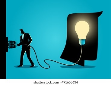Concept illustration of a businessman puts plug in the socket to light up the brain