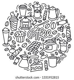 concept illustration of coffee drink and cakes with sweets