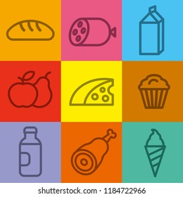 concept illustration of color set food and grocery icons