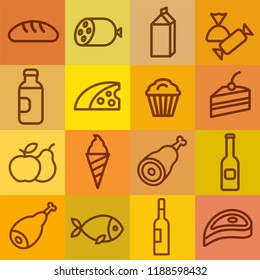concept illustration of color set food grocery icons