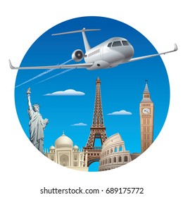 concept illustration of commercial private jet flying around the world