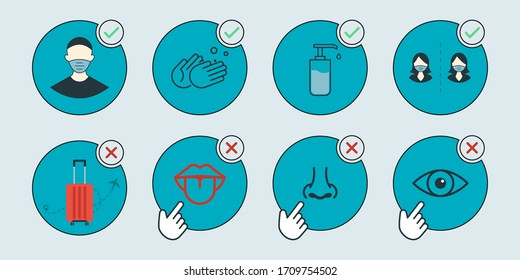 concept illustration coronavirus COVID-19. Wear medical masks, wash your hands often, keep your distance. Do not touch hands, eyes, nose, mouth, stay home. Vector web symbols EPS10