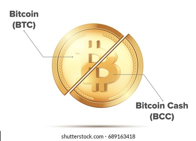 Concept Illustration of Cryptocurrency Bitcoin divided into Bitcoin and Bitcoin Cash. Hardfork coming. Vector Illustration isolated on white background.