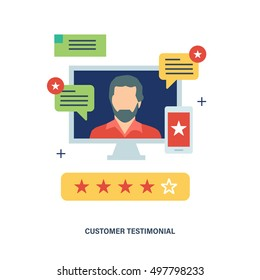 Concept illustration of customer testimonials, business, vote and feedback, reviews and support, rating and liked. Technology and methods of voting. Editable Stroke. Vector illustration.