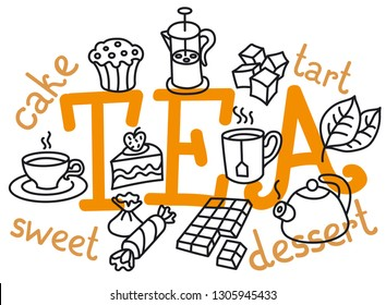 concept illustration of dessert and tea icon