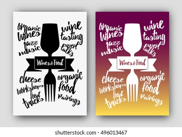 Concept illustration of drink and food. Concept of pairing food and drink. Illustration glass of drink and fork. Vector
