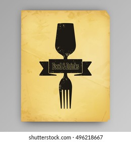 Concept illustration of drink and food. Concept of pairing food and drink. Background paper vintage look. Vector