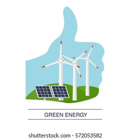 Concept illustration of ecology. Alternative and renewable energy sources. Thumb up hand like with rural landscape.