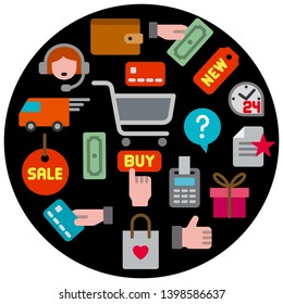 concept illustration of e-commerce shop icon