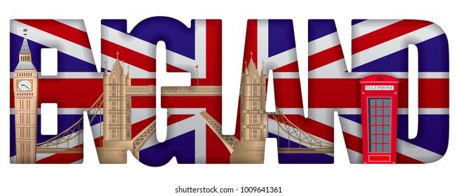 concept illustration of england incscription with landmarks