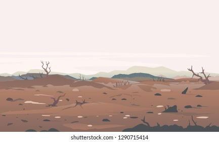 Concept illustration of environment destruction, dead trees after the forest fire, landscape as a background of environmental damage issues, brown ground with dry trees, environmental pollution