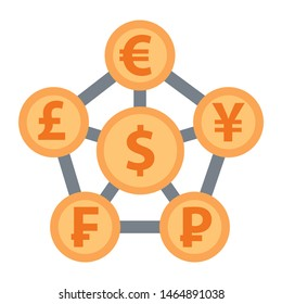 Concept illustration of Exchange with links near currency signs. Vector banner with coins of american dollar, british pound, yen , franc and ruble.