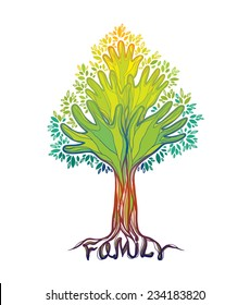 Concept illustration- family tree. Abstract green hand tree.