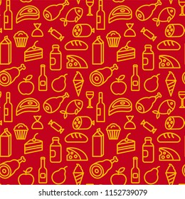 concept illustration of food and grocery seamless pattern